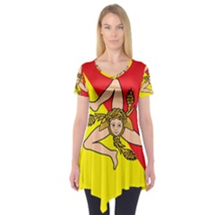 Coat Of Arms Of Sicily Short Sleeve Tunic