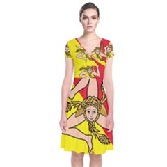 Coat Of Arms Of Sicily Short Sleeve Front Wrap Dress
