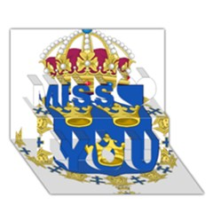 Lesser Coat Of Arms Of Sweden Miss You 3D Greeting Card (7x5)