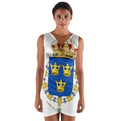 Lesser Coat Of Arms Of Sweden Wrap Front Bodycon Dress