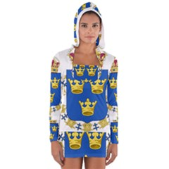 Lesser Coat Of Arms Of Sweden Women s Long Sleeve Hooded T-shirt