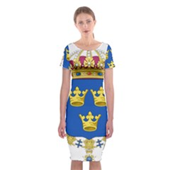 Lesser Coat Of Arms Of Sweden Classic Short Sleeve Midi Dress