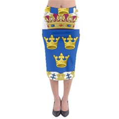 Lesser Coat Of Arms Of Sweden Midi Pencil Skirt