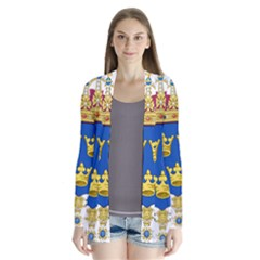 Lesser Coat Of Arms Of Sweden Drape Collar Cardigan