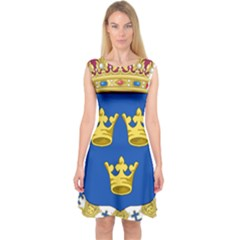Lesser Coat Of Arms Of Sweden Capsleeve Midi Dress