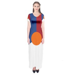Roundel Of The Royal Netherlands Air Force Short Sleeve Maxi Dress