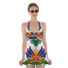 Coat Of Arms Of Haiti Halter Swimsuit Dress