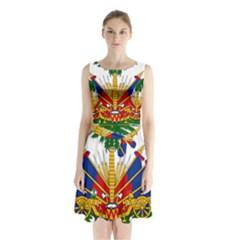 Coat Of Arms Of Haiti Sleeveless Waist Tie Dress
