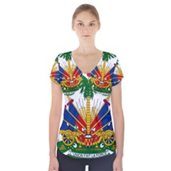 Coat Of Arms Of Haiti Short Sleeve Front Detail Top