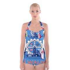 Flag Of Milwaukee Boyleg Halter Swimsuit