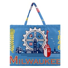 Flag Of Milwaukee Zipper Large Tote Bag