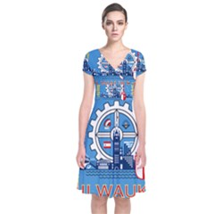 Flag Of Milwaukee Short Sleeve Front Wrap Dress