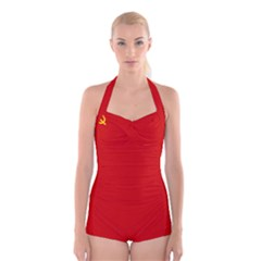 Flag Of The Soviet Union  Boyleg Halter Swimsuit