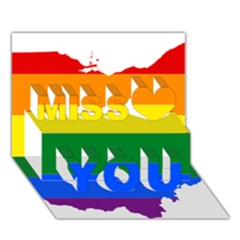 Lgbt Flag Map Of Ohio  Miss You 3D Greeting Card (7x5)