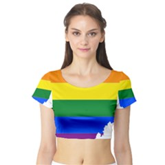Lgbt Flag Map Of Ohio  Short Sleeve Crop Top (Tight Fit)