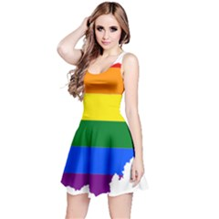 Lgbt Flag Map Of Ohio  Reversible Sleeveless Dress