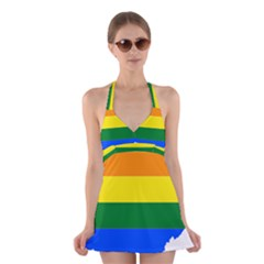 Lgbt Flag Map Of Ohio  Halter Swimsuit Dress