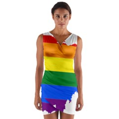 Lgbt Flag Map Of Ohio  Wrap Front Bodycon Dress