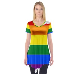 Lgbt Flag Map Of Ohio  Short Sleeve Tunic
