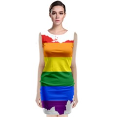 Lgbt Flag Map Of Ohio  Classic Sleeveless Midi Dress