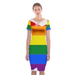 Lgbt Flag Map Of Ohio  Classic Short Sleeve Midi Dress