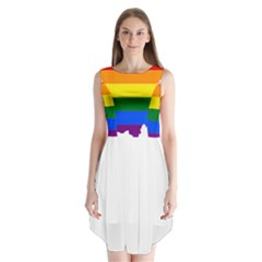 Lgbt Flag Map Of Ohio  Sleeveless Chiffon Dress