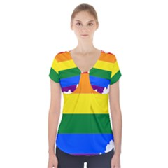 Lgbt Flag Map Of Ohio  Short Sleeve Front Detail Top