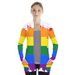 Lgbt Flag Map Of Ohio  Women s Open Front Pockets Cardigan(P194)