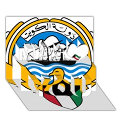 Emblem Of Kuwait  Miss You 3D Greeting Card (7x5)