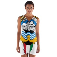 Emblem Of Kuwait  Wrap Front Bodycon Dress