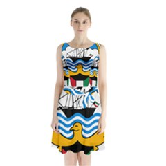 Emblem Of Kuwait  Sleeveless Waist Tie Dress