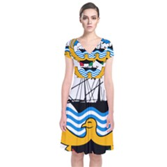 Emblem Of Kuwait  Short Sleeve Front Wrap Dress