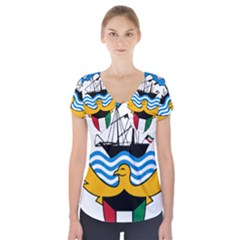 Emblem Of Kuwait  Short Sleeve Front Detail Top