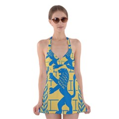 Emblem Of Jerusalem Halter Swimsuit Dress