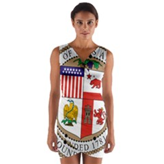 City Of Los Angeles Seal Wrap Front Bodycon Dress
