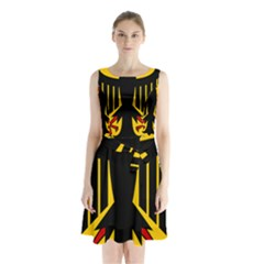 Coat Of Arms Of Germany Sleeveless Waist Tie Dress