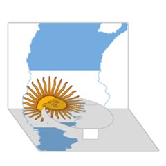 Flag Map Of Argentina Circle Bottom 3d Greeting Card (7x5)