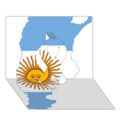 Flag Map Of Argentina Ribbon 3D Greeting Card (7x5)