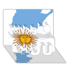 Flag Map Of Argentina Miss You 3d Greeting Card (7x5)