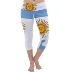 Flag Map Of Argentina Capri Yoga Leggings