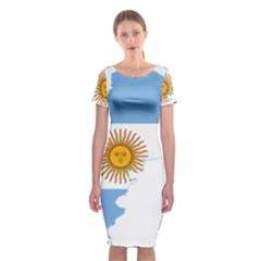 Flag Map Of Argentina Classic Short Sleeve Midi Dress