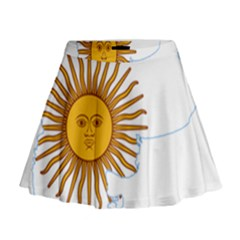 Flag Map Of Argentina Mini Flare Skirt