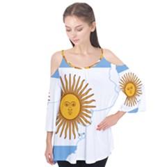 Flag Map Of Argentina Flutter Tees