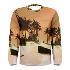 Wonderful Sunset Over The Beach, Tropcal Island Men s Long Sleeve Tee