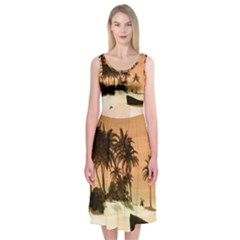 Wonderful Sunset Over The Beach, Tropcal Island Midi Sleeveless Dress