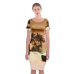Wonderful Sunset Over The Beach, Tropcal Island Classic Short Sleeve Midi Dress
