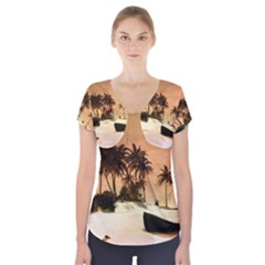 Wonderful Sunset Over The Beach, Tropcal Island Short Sleeve Front Detail Top