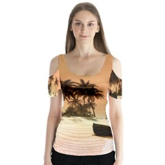 Wonderful Sunset Over The Beach, Tropcal Island Butterfly Sleeve Cutout Tee
