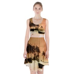 Wonderful Sunset Over The Beach, Tropcal Island Racerback Midi Dress
