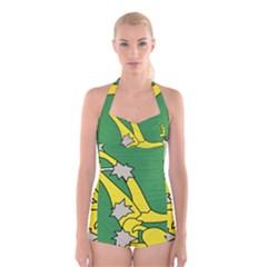 Starry Plough Flag Boyleg Halter Swimsuit